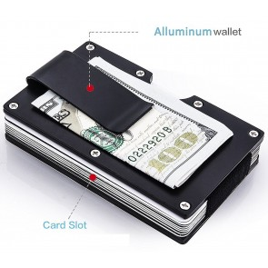 Slim RFID Blocking metal wallet aluminum Credit card holder with money Clip for Men – Black