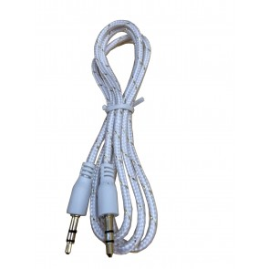 Wholesale 3.5mm Male To Male Woven Fabric Cotton Aux Audio Cable 1M - White